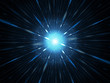 Blue glowing explosion in space, starburst
