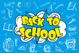 Back to school, comic pop art background