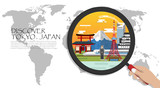 Travel infographic. Tokyo  infographic tourist sights of Japan ,World Map with Magnifying Glass,hand holding magnifying glass,Discover Japan concept.