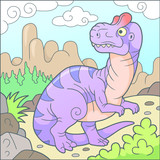 Cartoon cute allosaurus, funny picture