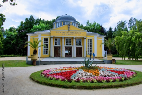 Pavilion with cold mineral water springs - center of the small west Bohemian spa Poster
