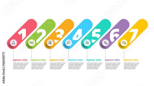 business process chart infographics with 7 step circles circular