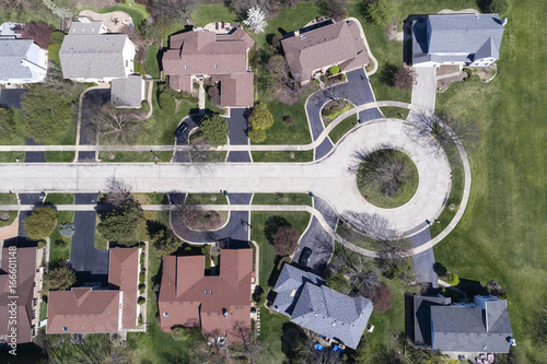 Poster Chicago Aerial View of Homes in a Cul-de-sac
