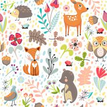 Seamless   Forest Animals Sticker