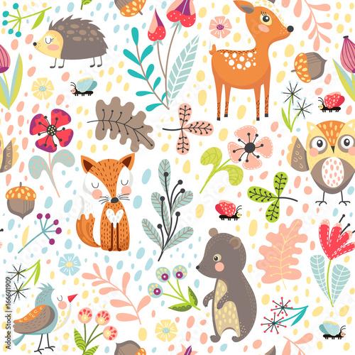 Materiał do szycia Bezszwowe tło z leśnych zwierząt
