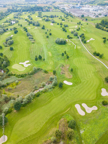 Aerial view of golf course in Europe
