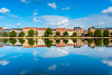 Houses along river in Downtown District of Copenhagen Denmark
