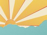 Sun in the sky comic pop art background.