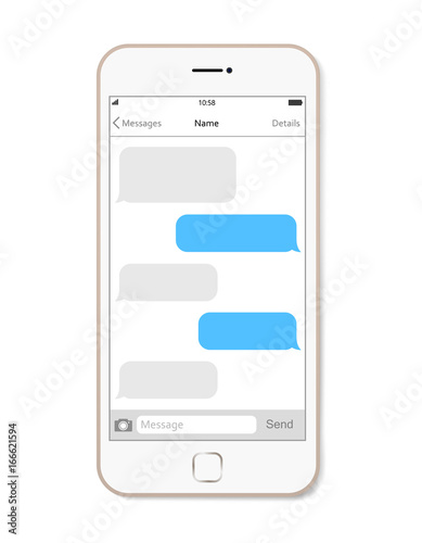 smartphone chatting sms app template bubbles vector illustration