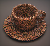 Roasted cup shaped coffee beans with clipping path, easy to crop from the background.