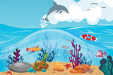 Coral reef and underwater world vector illustration