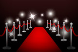 Realistic vector red event carpet , silver barriers and flashes. Design template in EPS10.