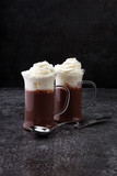 coffee chocolate smoothie with coconut whipped cream. toning, ic