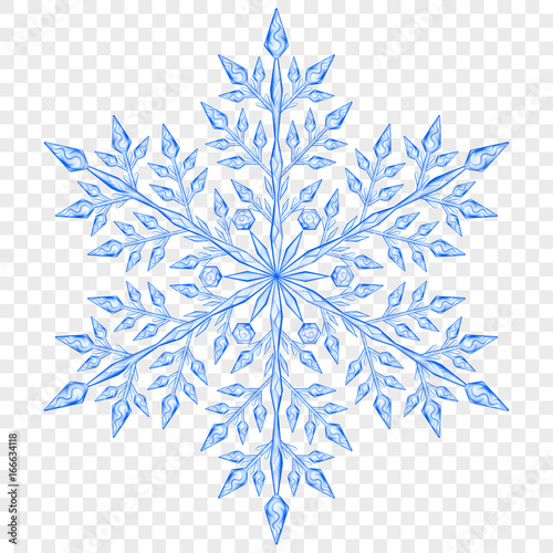 Big translucent Christmas snowflake. Transparency only in vector file