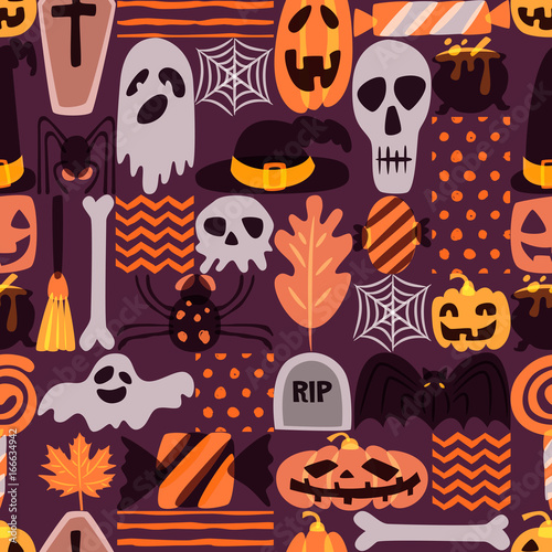 Materiał do szycia Vector seamless Halloween pattern with hand drawn doodle pumpkin, skull, witch hat, bones, candies, spider, ghost, broom, cauldron. Design for holiday textile prints, wrapping and backgrounds