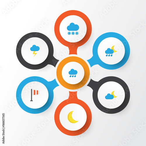Weather Flat Icons Set. Collection Of Rain, Hailstones, Crescent And Other Elements. Also Includes Symbols Such As Winter, Rain, Flag.