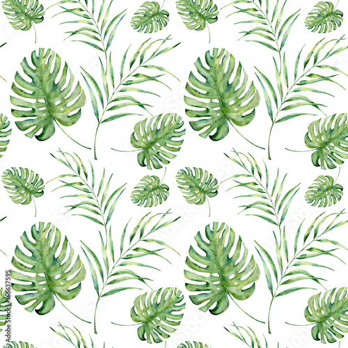Watercolor tropical pattern with monstera and palm leaves. Hand painted floral ornament with exotic plant branch isolated on white background. For design, fabric or background. - 166637595