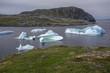 icebergs in quiet bay below Brimstone Head on Fogo Island, Newfoundland