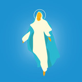 Vector illustration for: The Assumption of Mary into Heaven,  also known as the Feast of Saint Mary the Virgin and the Falling Asleep of the Blessed Virgin Mary or Dormition of the Mother of God. - 166641161