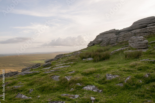 Foto op Canvas Wit Cox Tor, Dartmoor in the early evening