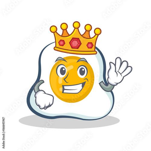 King fried egg character cartoon