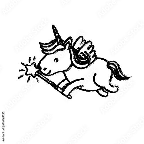 figure beauty unicorn with wings and magic wand
