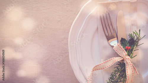 Christmas table place setting, holidays copy space background - 166654969