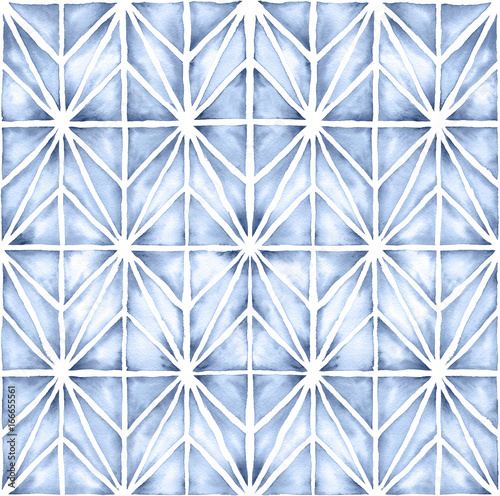 Shibori style watercolor illustration with a modern geometric design. Seamless repeating pattern. - 166655561