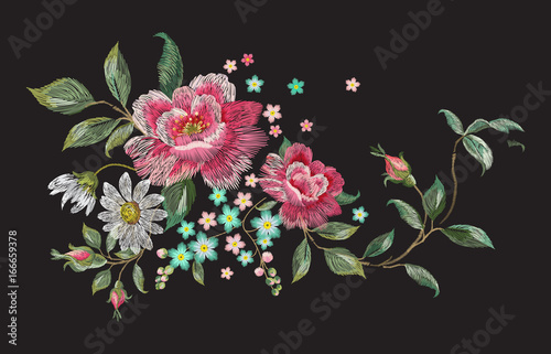 Embroidery fashion floral pattern with roses and chamomiles. Vector traditional embroidered bouquet with flowers on black background for clothing design. - 166659378