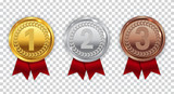 Champion Gold, Silver and Bronze Medal with Red Ribbon Icon Sign - 166665500