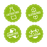 Set of Allergen free Badges. Lactose free, Gluten free, Sugar free, 100% Vegan. Vector hand drawn Signs. Can be used for packaging Design. - 166674593