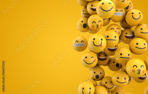 Emoji emoticon character background collection. 3D Rendering - 166675365