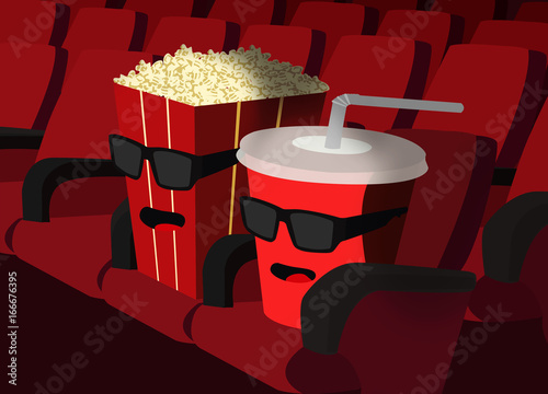 Popcorn and Cup in the cinema Poster