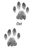 Cat footprint illustration, drawing, engraving, ink, line art, vector
