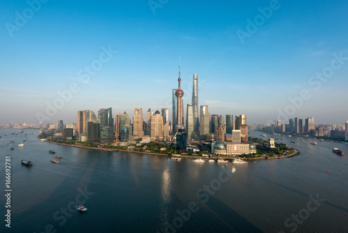 Shanghai skyline city scape, Shanghai luajiazui finance and business district trade zone skyline, Shanghai China