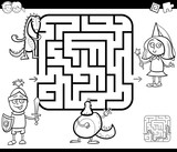 maze activity game with fantasy characters