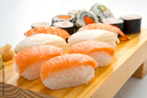 salmon sushi set. Japanese food Poster