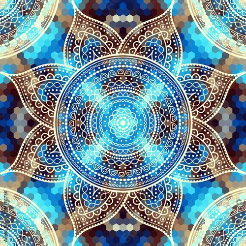 Vector square background. Mandala round decorative ornament pattern.
