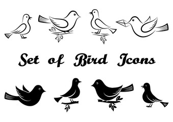 Set of Icons, Cartoon Birds, Flying or Sitting on Branches, Black Pictograms and Contours Isolated on White Background. Vector