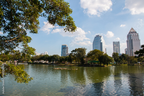 Cityscape at Lumpini park, Bangkok, Thailand