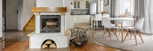 White brick fireplace - 166710394