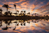 Beautiful romantic sunset over a sandy beach and palm trees. Egypt. Hurghada - 166713191
