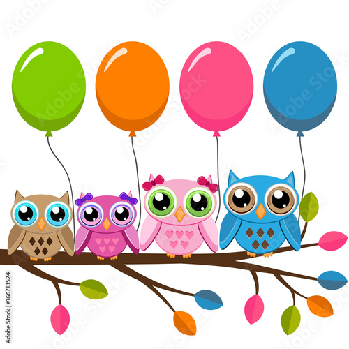 Foto op Aluminium Uilen cartoon Four owls on a branch with air balloons