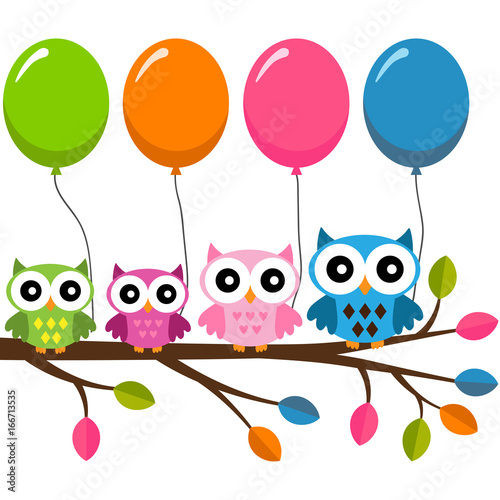 Four owls on a branch with air balloons