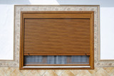 wooden window with blind - 166713726