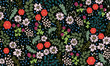 Seamless folk pattern in small wild flowers. Country style millefleurs. Floral meadow background for textile, wallpaper, pattern fills, covers, surface, print, gift wrap, scrapbooking, decoupage. - 166713991