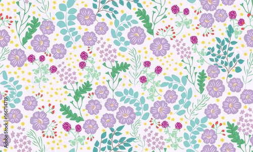 Seamless folk pattern in small wild flowers. Country style millefleurs. Floral meadow background for textile, wallpaper, pattern fills, covers, surface, print, gift wrap, scrapbooking, decoupage. - 166714719