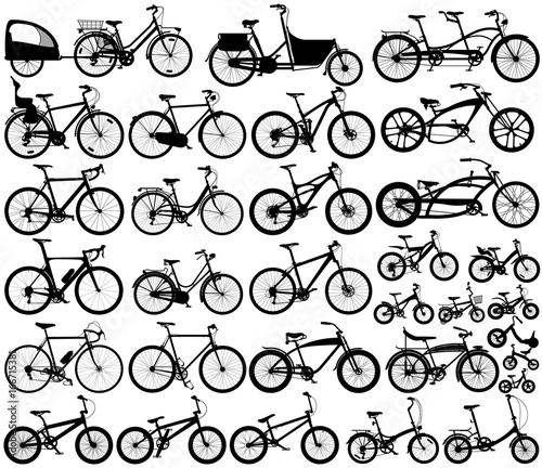 Man, woman and child bicycles detailed vector silhouette collection
