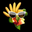 Tasty art / Quirky food concept of cubist style female face in sunglasses made of fruits and vegetables, on black background. - 166717585