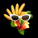 Tasty art / Quirky food concept of cubist style female face in sunglasses made of fruits and vegetables, on black background.